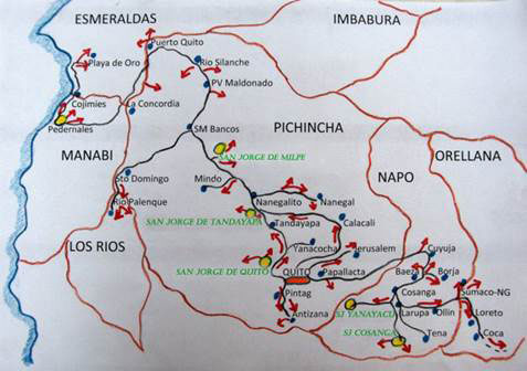 the magic hiking & birding circuit map  - san jorge eco-lodge quito ecuador birding
